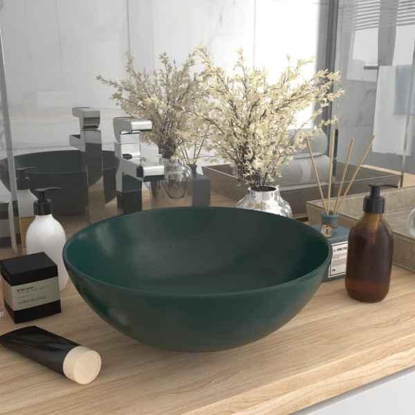 vidaXL Chiuvetă de baie, verde închis, ceramică, rotund