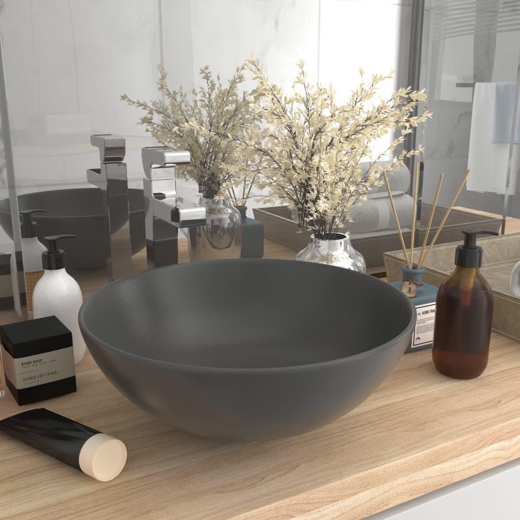 vidaXL Chiuvetă de baie, gri închis, ceramică, rotund