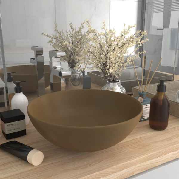 vidaXL Chiuvetă de baie, crem mat, ceramică, rotund