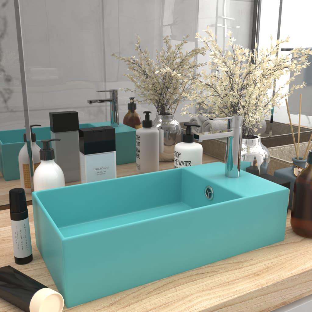 vidaXL Chiuvetă de baie cu preaplin, verde deschis, ceramică