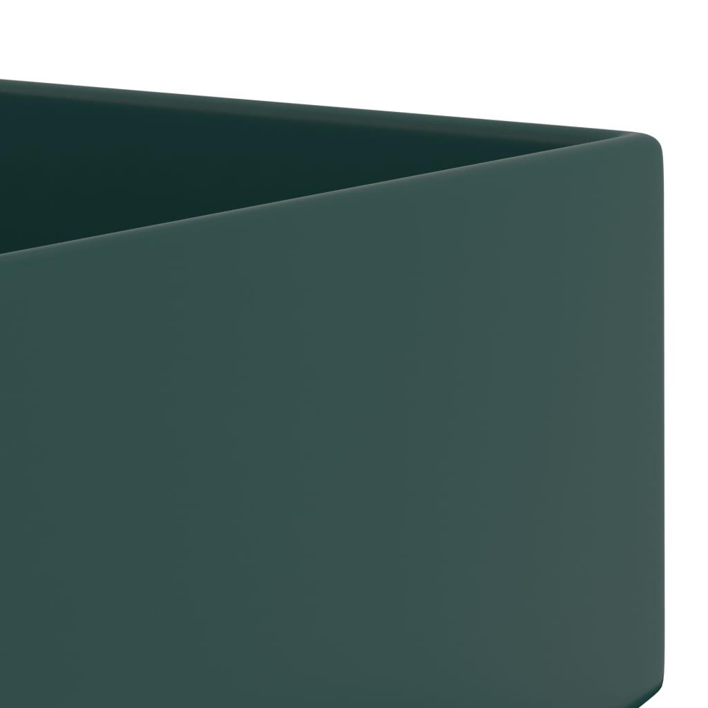 vidaXL Chiuvetă de baie cu preaplin, verde închis, ceramică