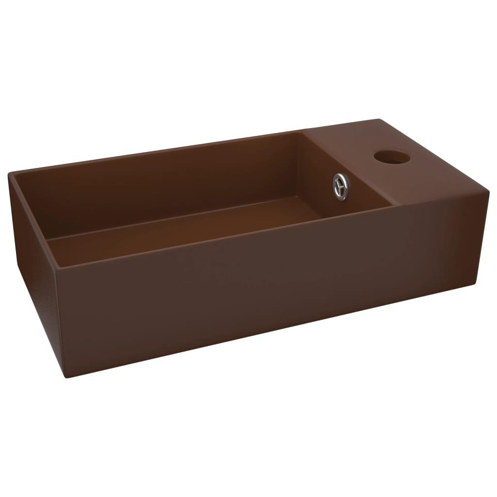 Chiuvetă de baie cu preaplin, maro închis, ceramică