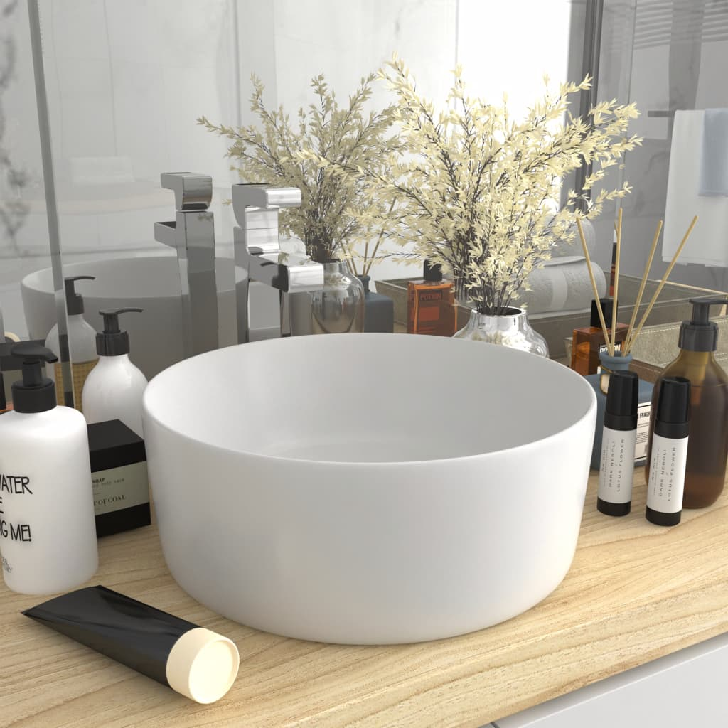 vidaXL Chiuvetă de baie lux, alb mat, 40 x 15 cm, ceramică, rotund