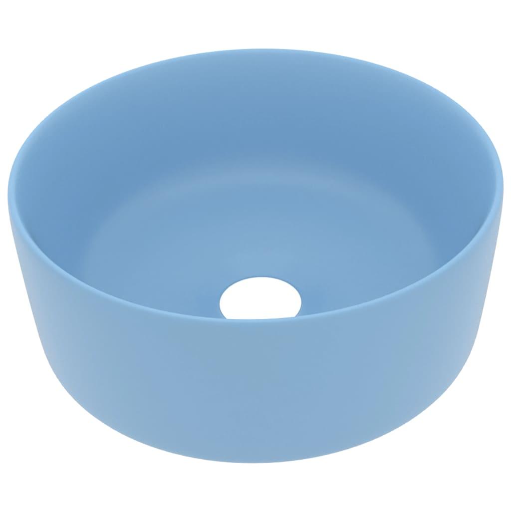 Chiuvetă baie lux albastru deschis mat 40×15 cm ceramică rotund
