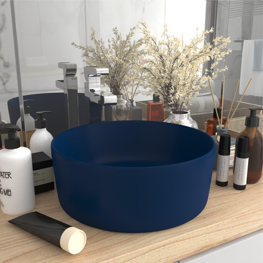 vidaXL Chiuvetă baie lux albastru închis mat 40×15 cm ceramică rotund