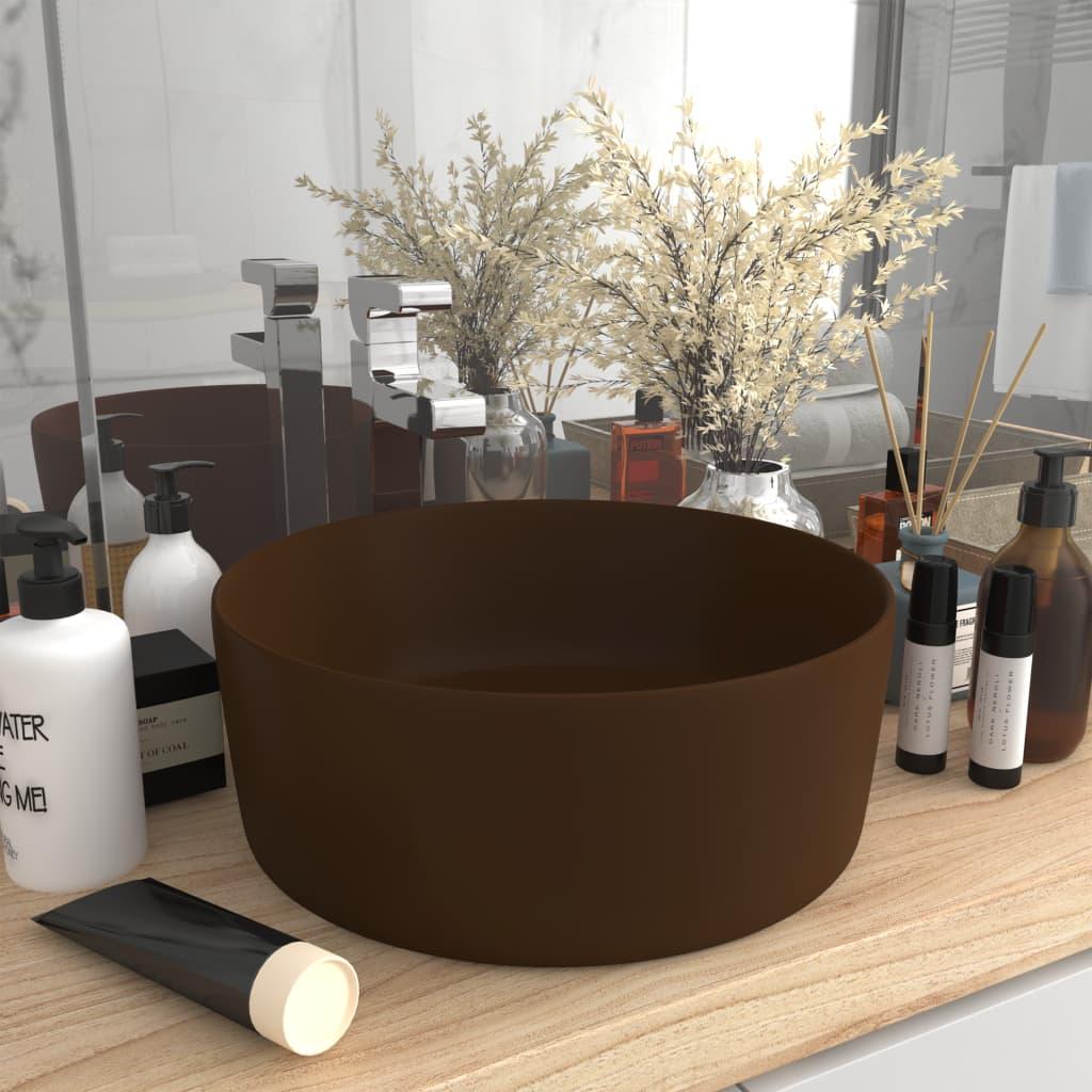 vidaXL Chiuvetă de baie lux maro închis mat 40×15 cm ceramică rotund