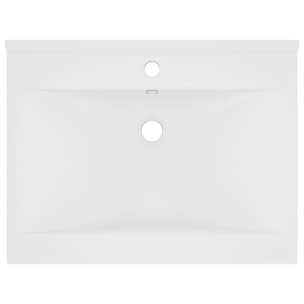 Chiuvetă baie lux, orificiu robinet, alb mat 60×46 cm ceramică