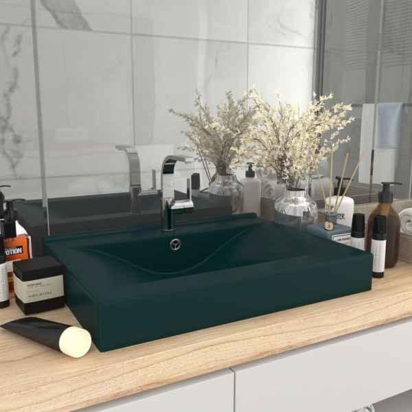 vidaXL Chiuvetă baie lux, orificiu robinet verde mat 60×46 cm ceramică