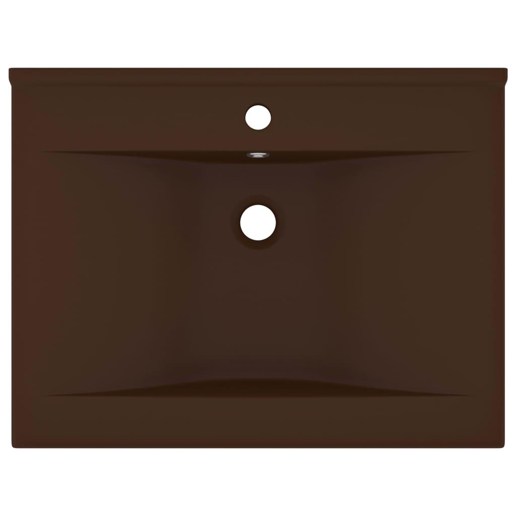 Chiuvetă baie lux, orificiu robinet, maro mat 60×46 cm ceramică
