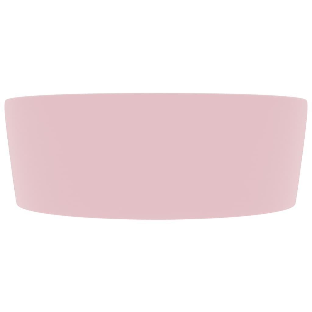 Chiuvetă de lux cu preaplin, roz mat, 36 x 13 cm, ceramică
