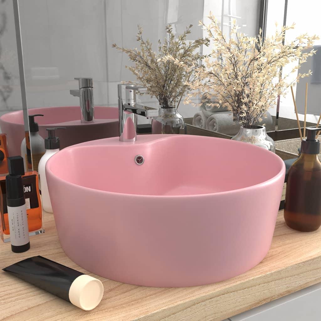 vidaXL Chiuvetă de lux cu preaplin, roz mat, 36 x 13 cm, ceramică