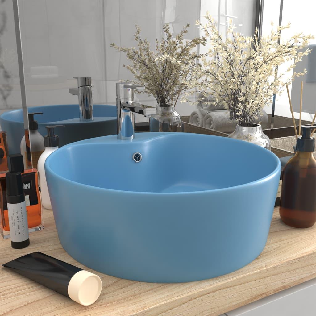 vidaXL Chiuvetă de lux cu preaplin, bleu mat, 36×13 cm, ceramică
