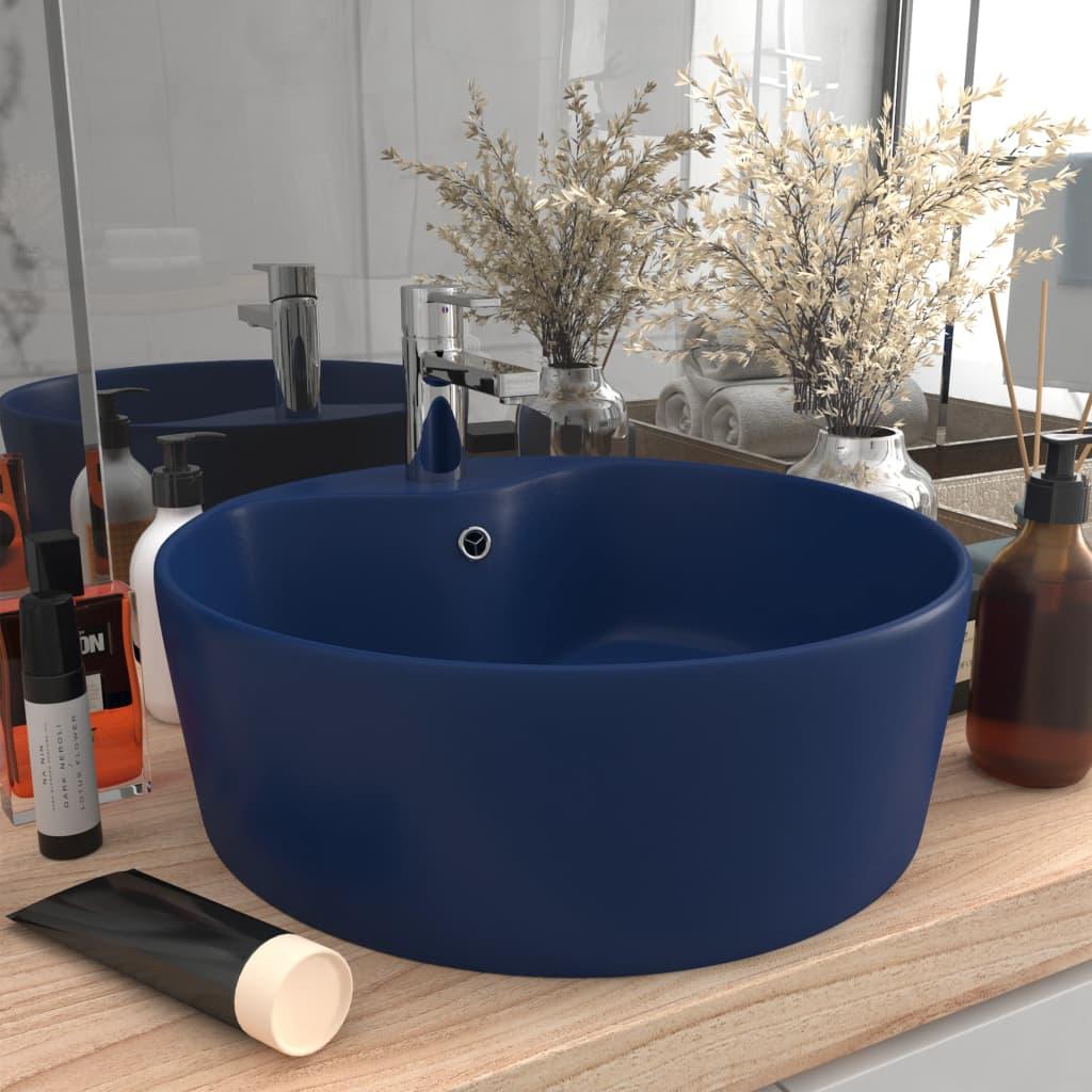vidaXL Chiuvetă de lux cu preaplin, albastru mat, 36 x 13 cm, ceramică