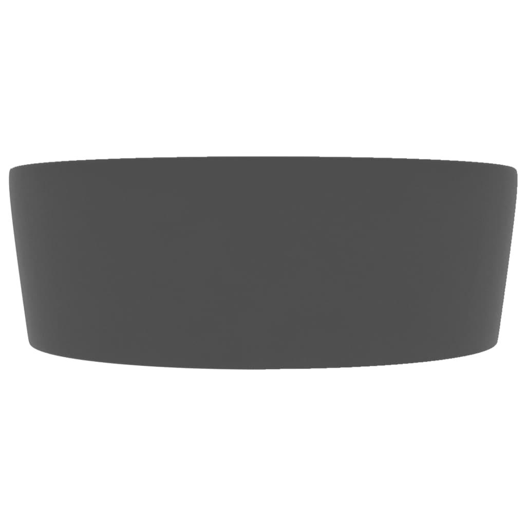 vidaXL Chiuvetă de lux cu preaplin, gri închis mat, 36×13 cm, ceramică