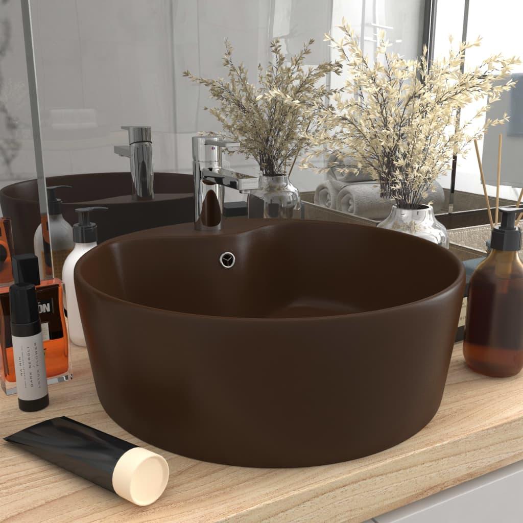 vidaXL Chiuvetă de lux cu preaplin, maro închis mat, 36x13cm, ceramică