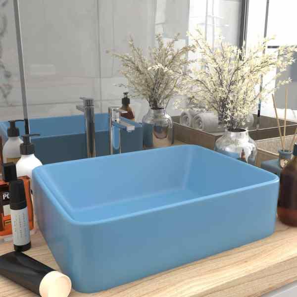 vidaXL Chiuvetă de baie lux albastru deschis mat 41x30x12 cm ceramică