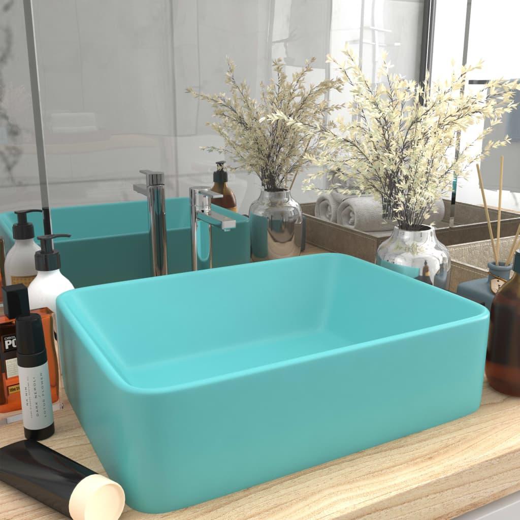 vidaXL Chiuvetă de baie lux, verde deschis mat, 41x30x12 cm, ceramică