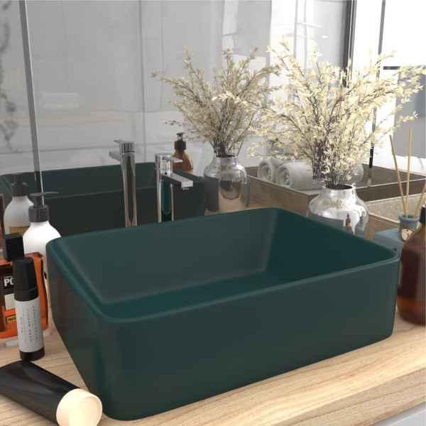 vidaXL Chiuvetă de baie lux, verde închis mat, 41x30x12 cm, ceramică