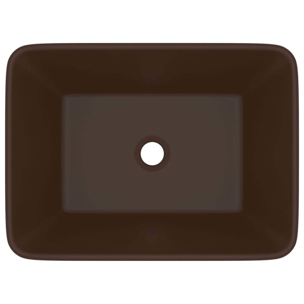 Chiuvetă de baie lux, maro deschis mat, 41x30x12 cm, ceramică