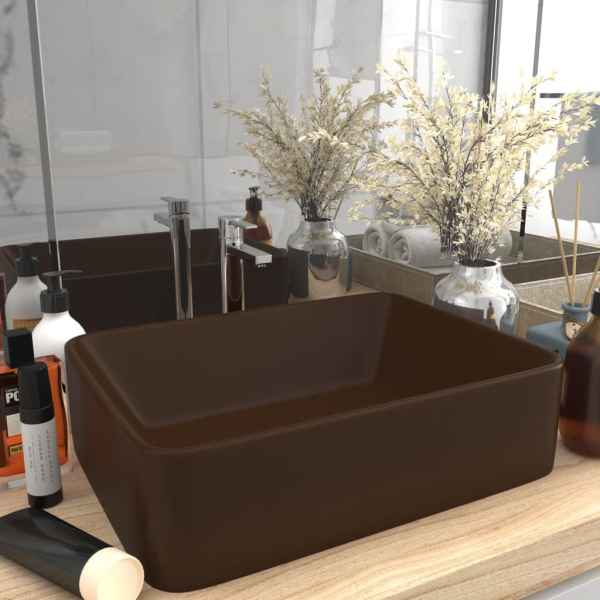 vidaXL Chiuvetă de baie lux, maro deschis mat, 41x30x12 cm, ceramică