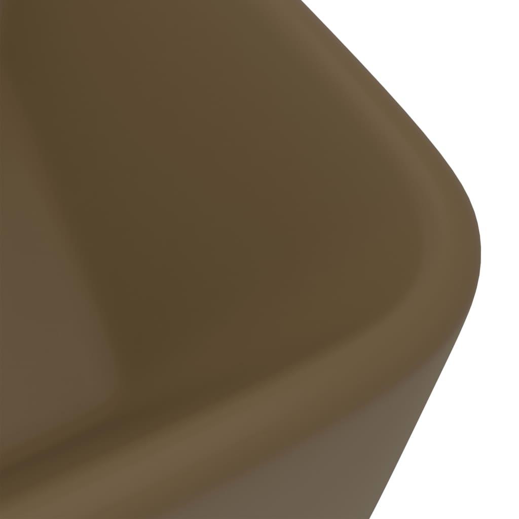 Chiuvetă de baie lux, crem mat, 41x30x12 cm, ceramică