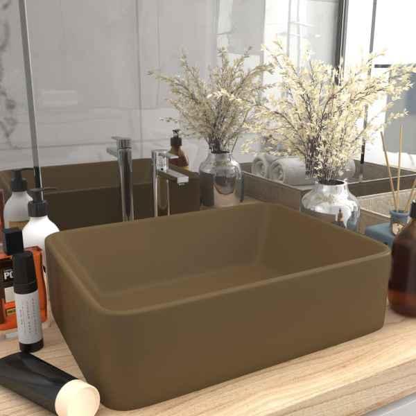 vidaXL Chiuvetă de baie lux, crem mat, 41x30x12 cm, ceramică