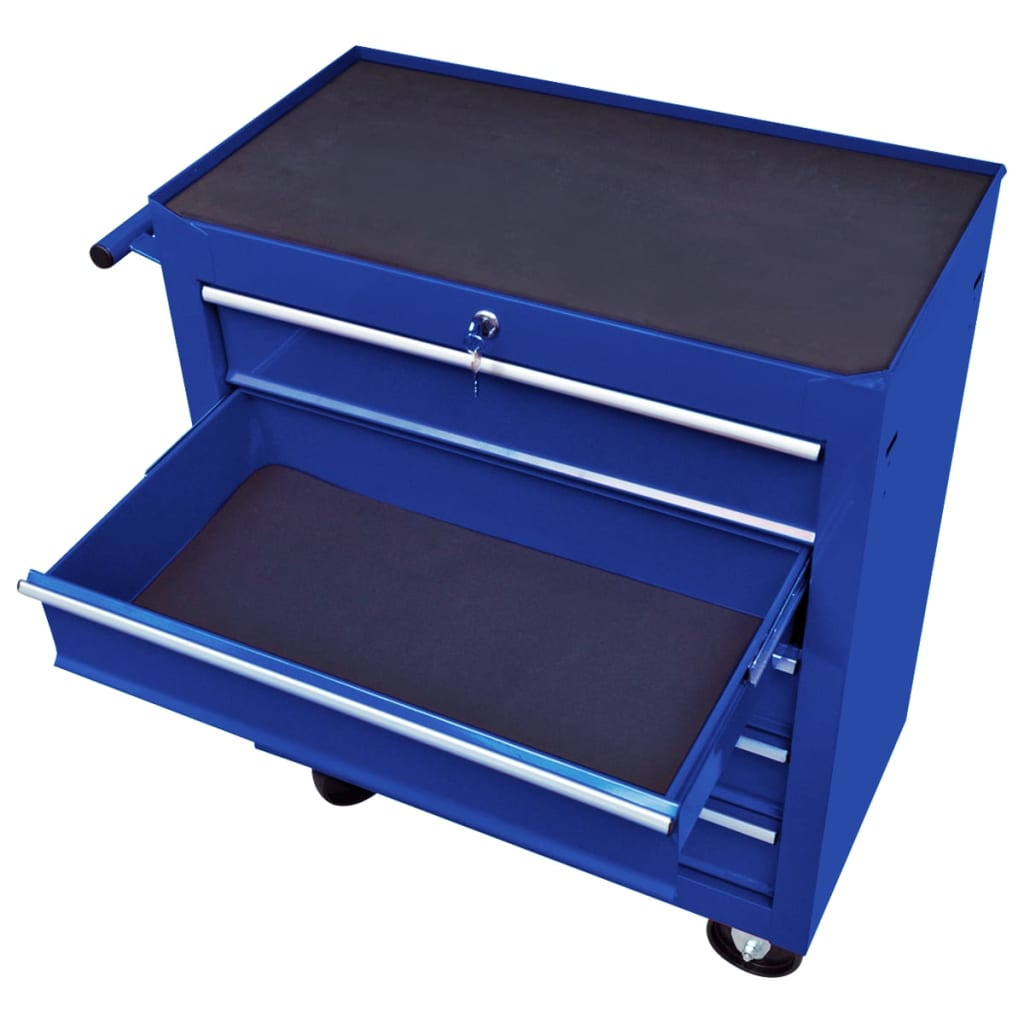 Cărucior de scule pentru atelier cu 5 sertare, albastru