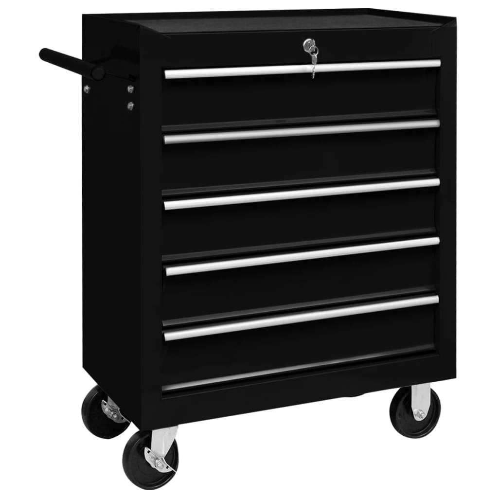 vidaXL Cărucior de scule pentru atelier cu 5 sertare, negru