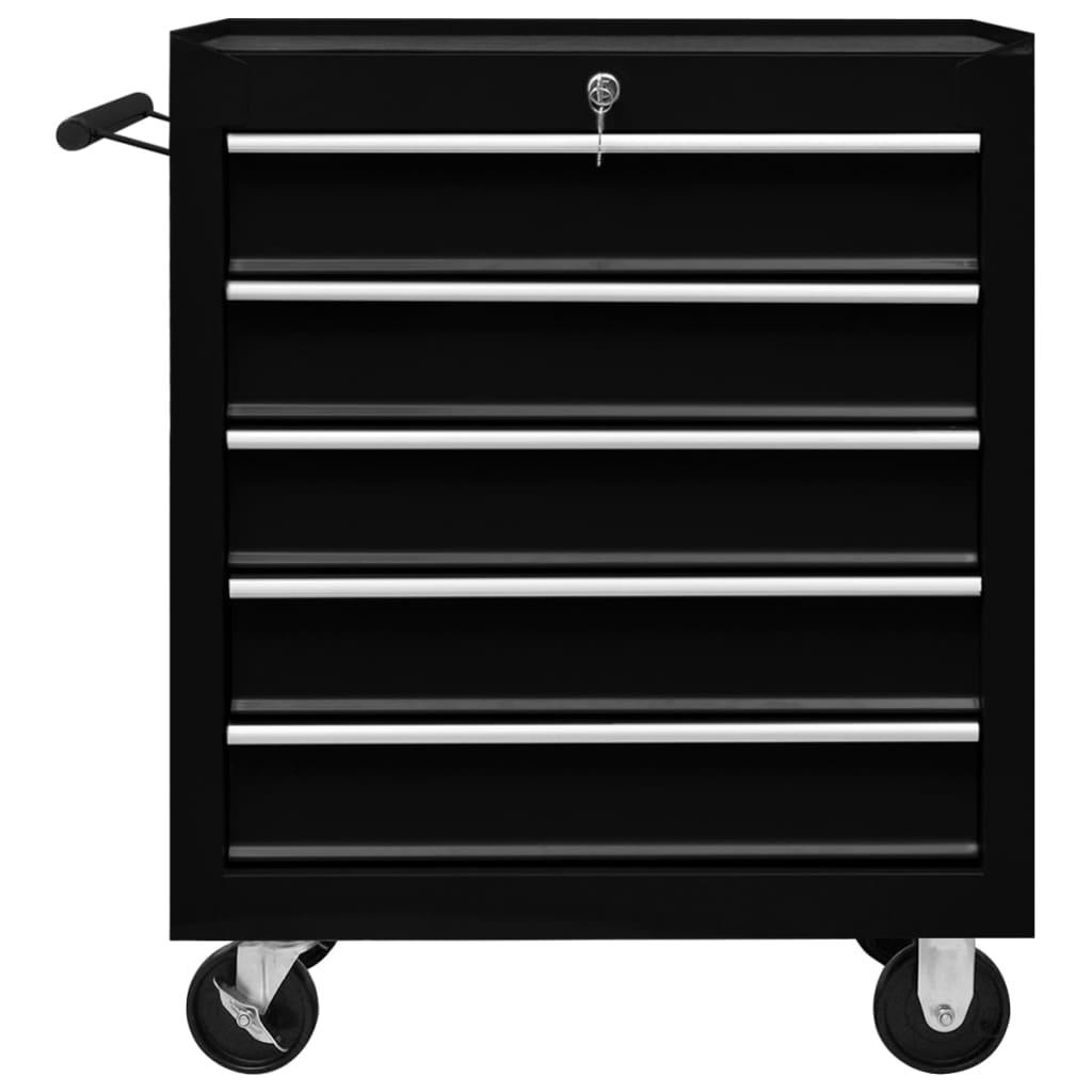 Cărucior de scule pentru atelier cu 5 sertare, negru