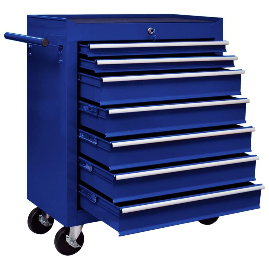 Cărucior de scule pentru atelier cu 7 sertare, albastru