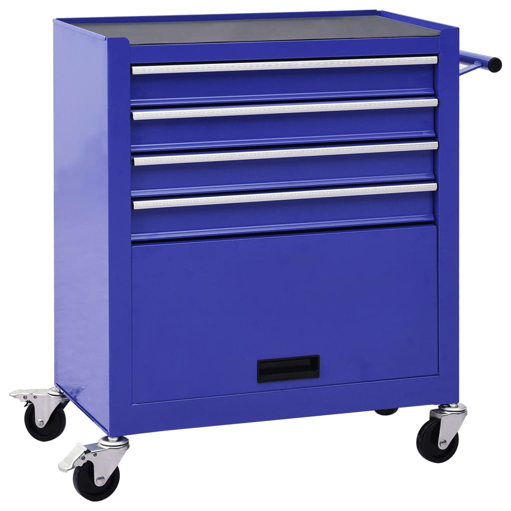 vidaXL Cărucior de scule cu 4 sertare, albastru, oțel