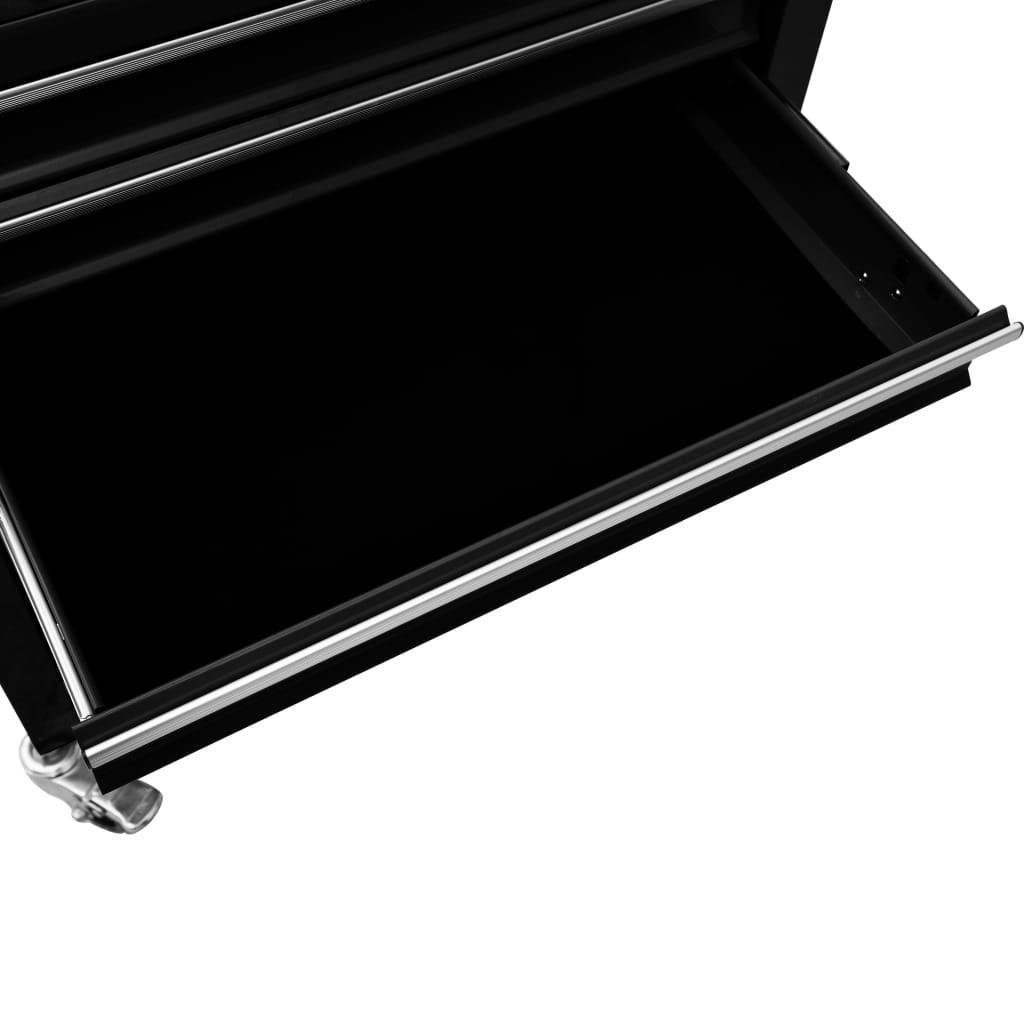 Cărucior de scule cu 4 sertare, negru, oțel