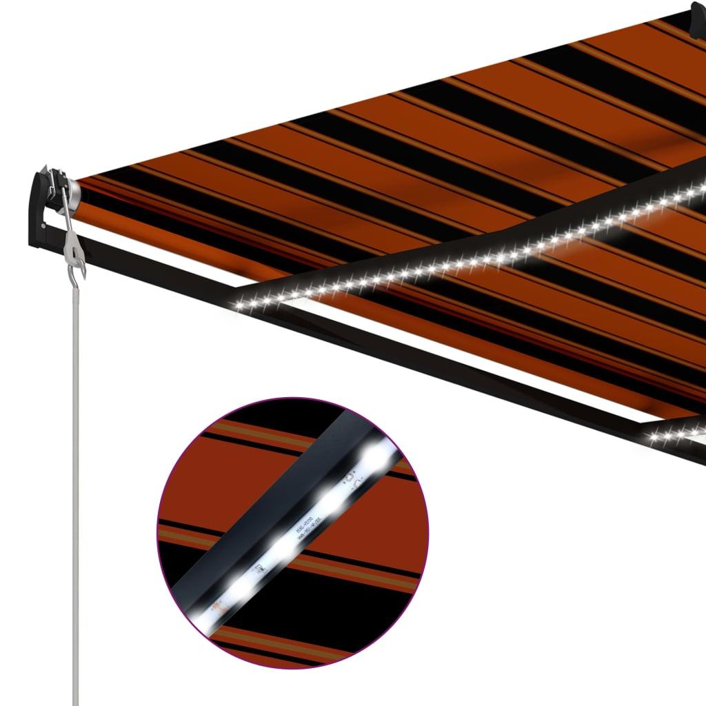 vidaXL Copertină retractabilă senzor vânt LED oranj maro 400×300 cm