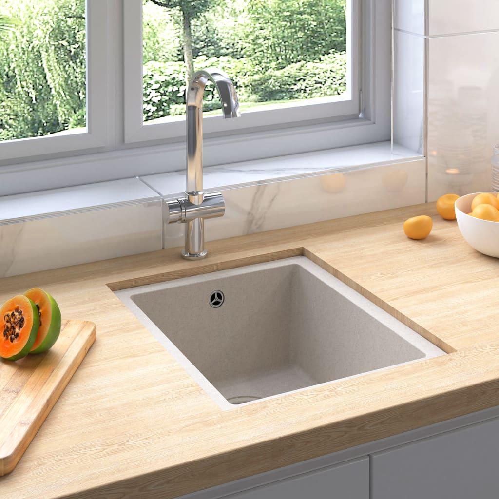 vidaXL Chiuvetă de bucătărie cu orificiu de preaplin, bej, granit