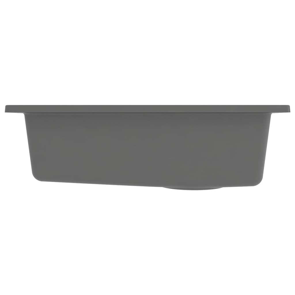 Chiuvetă de bucătărie cu orificiu de preaplin, gri, granit