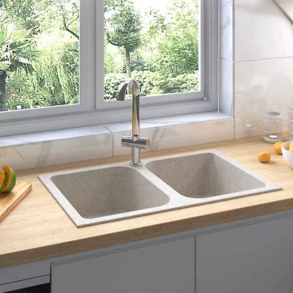 vidaXL Chiuvetă de bucătărie dublă cu orificiu de preaplin, bej granit