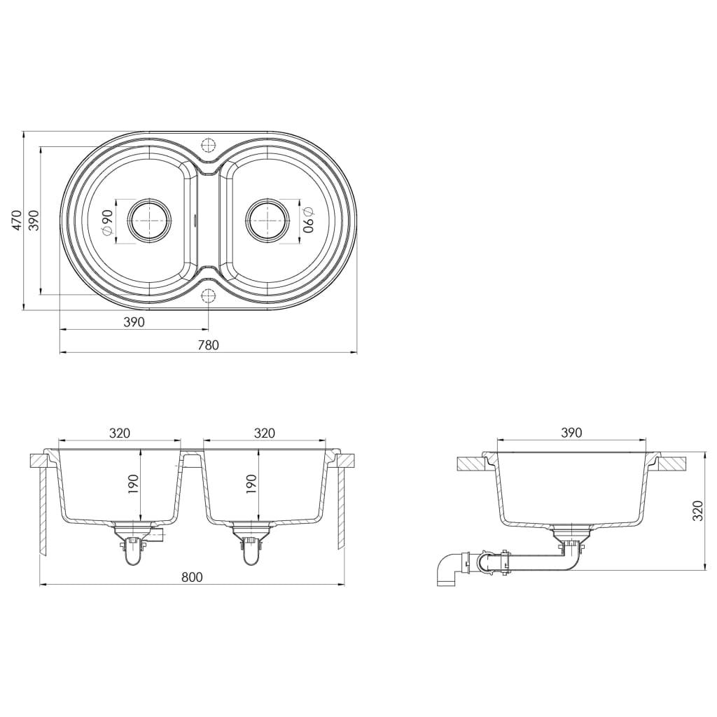 Chiuvetă de bucătărie cu două cuve, bej, granit, oval