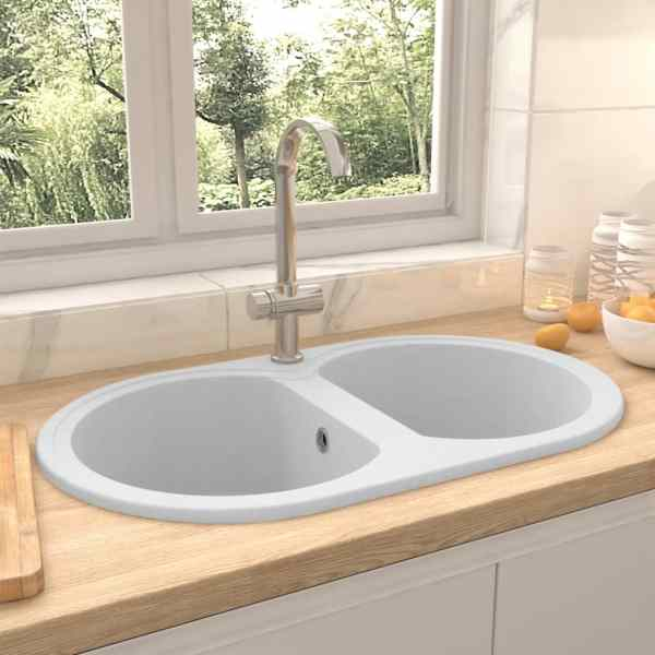 vidaXL Chiuvetă de bucătărie cu două cuve, alb, granit, oval