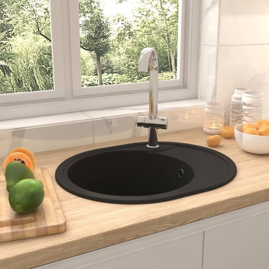 vidaXL Chiuvetă bucătărie cu orificiu de preaplin, negru, granit, oval