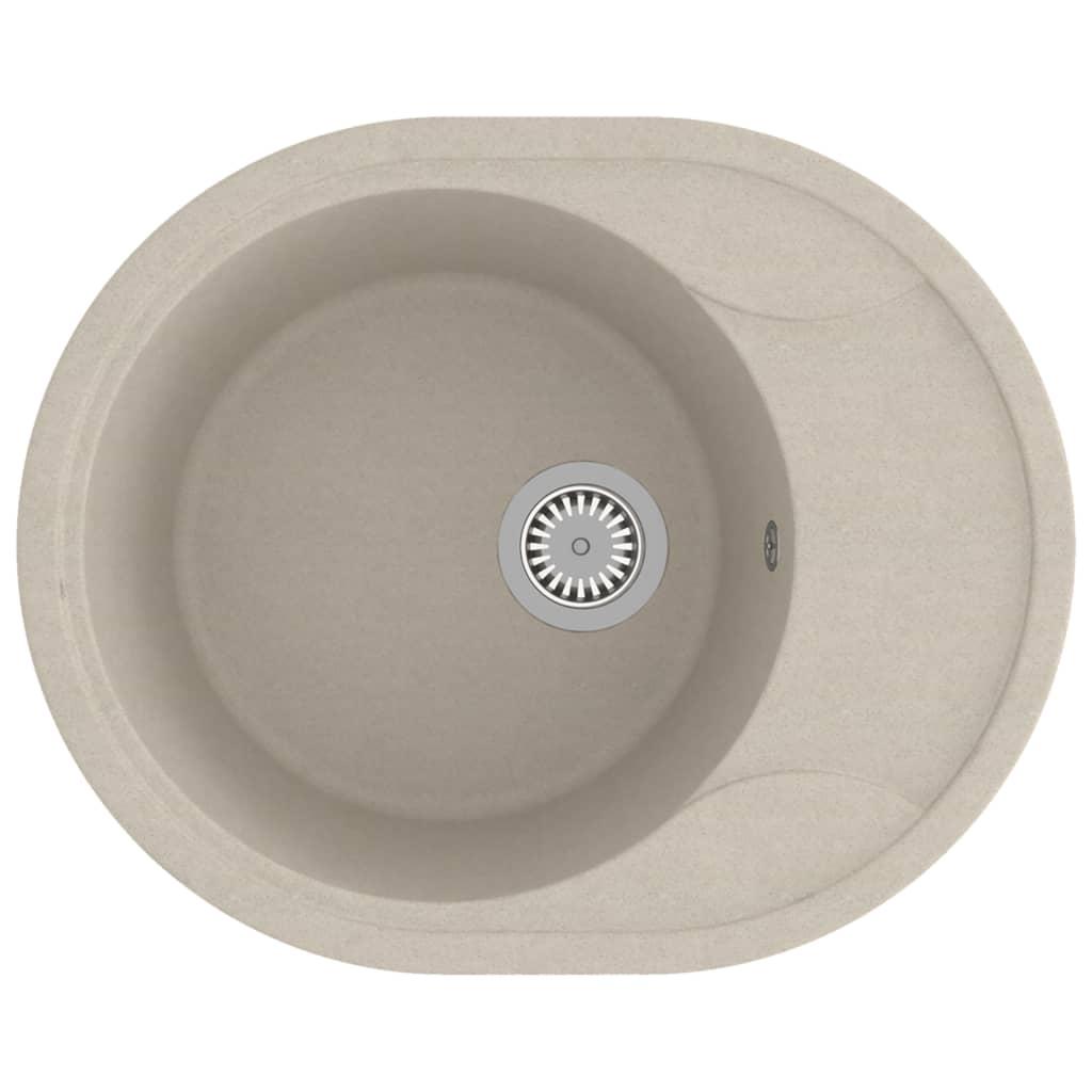 Chiuvetă de bucătărie cu orificiu de preaplin, bej, granit oval