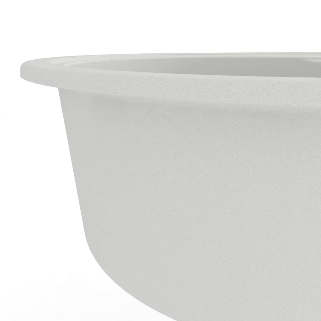 Chiuvetă de bucătărie cu orificiu de preaplin, alb, granit oval