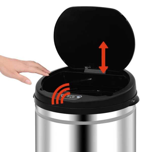 vidaXL Coș de gunoi automat cu senzor, 50 L, oțel inoxidabil