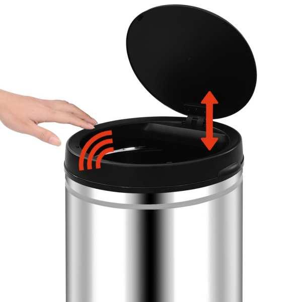 Coș de gunoi automat cu senzor, 80 L, oțel inoxidabil