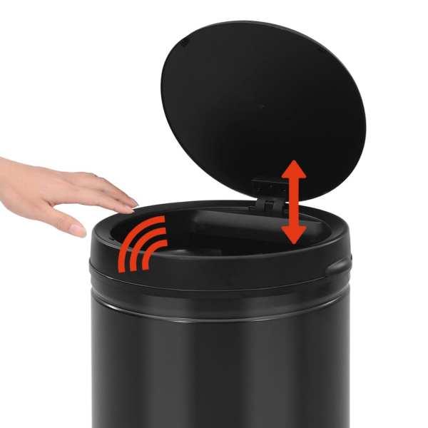 Coș de gunoi automat cu senzor, 80 L, negru, oțel carbon