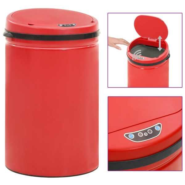 vidaXL Coș de gunoi automat cu senzor, 30 L, roșu, oțel carbon