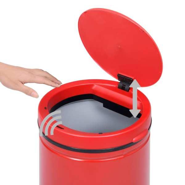 vidaXL Coș de gunoi automat cu senzor, 60 L, roșu, oțel carbon