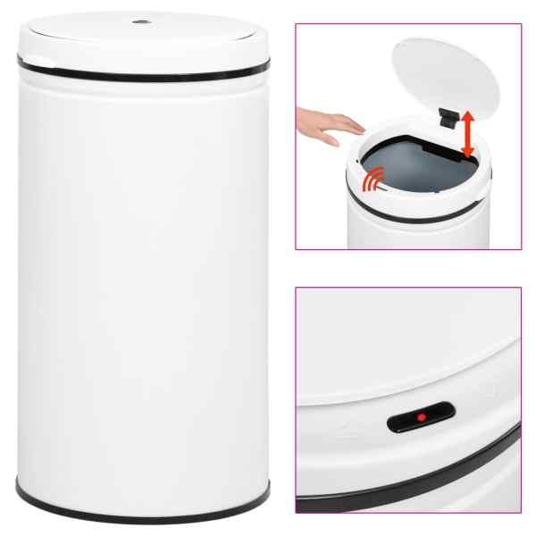 vidaXL Coș de gunoi automat cu senzor, 60 L, alb, oțel carbon