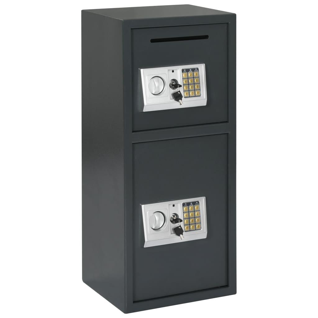 vidaXL Seif digital cu ușă dublă, gri închis, 35 x 31 x 80 cm