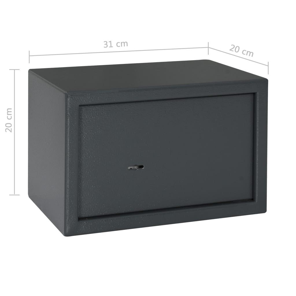 Seif mecanic, gri închis, 31 x 20 x 20 cm, oțel