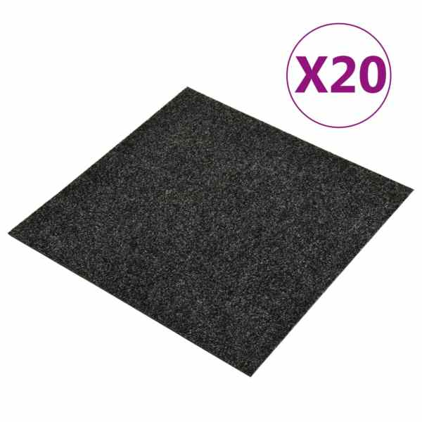 vidaXL Dale mochetă pentru podea, 20 buc., negru, 5 m²